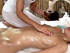 Huge nipples lesbian babe in massage room