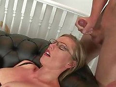 Lady sonia and mature friend fuck young guy and get cumshot