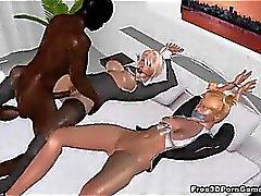 Les deux attachés bombasses blondes 3D prendre un coq noir dure