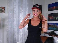 TRANS BELLA - Sexy blonde tranny Renata Davila fucks stud