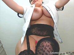 Cute Huge Tits Camgirl Masturbating & Final Squirt