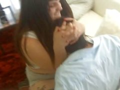 Handcuffed and Breast Smother