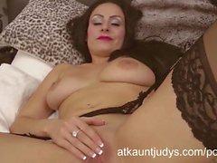 Sophia Delane is an erotic MILF in her lingerie, rubbing her pussy