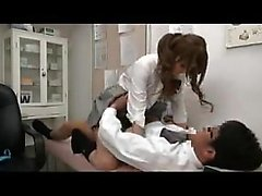 Stacked Asian secretary hops on to let her boss enter her h