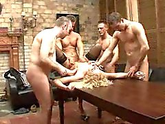 Gangbang with a fine mature