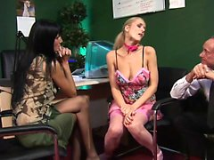 Two horny babes take care of any sexual need in group sex