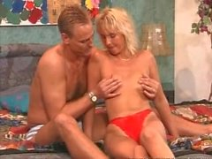 Mature blonde sucks and fucks big dick