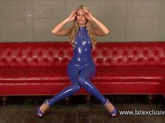 Sexy latex fetish of blonde Charlotte in tight rubber suit