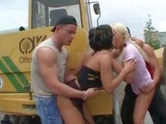 Fucking in public hot blonde and brunette