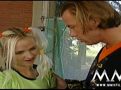 Petite blonde blowjobs her gym teacher at school