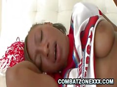 Teen ebony rides a hard dick