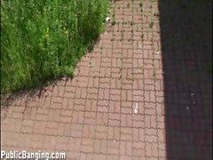 Public sex threesome by a bus stop