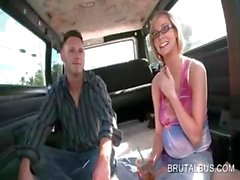 Blonde amateur sweetie has fun in the sex bus