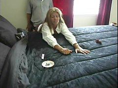 Sultry blonde milf bends over and takes a hard pounding fro