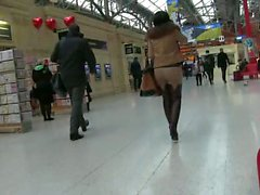Milf takes the train in crotchless leggings and thighboots