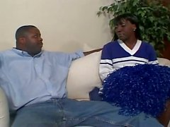 Ebony girl get fucked by a big muscled cock