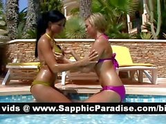 Gorgeous blonde and brunette lesbians kissing and licking nipples and having lesbian love