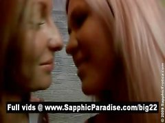 Angelic brunette and blonde lesbos kissing in a great three way lesbo orgy