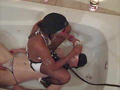 ebony dom spits on her white pathetic slaves