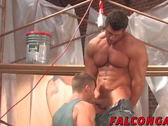 Landon Conrad is busy gulping a thick cock of Zeb Atlas