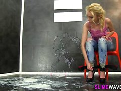 Euro whore gets wam slime
