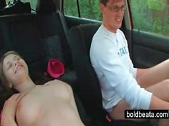 Teen bitch giving blowjob in the car