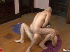 Horny bald jocks Adam Russo and Park Wiley licking and fucking their asses