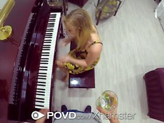 POVD Blonde Bailey Brooke fucks piano lesson instructor
