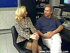 Slim blonde milf poses for a curly porn agent