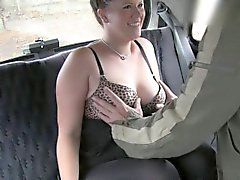 British plump babe bangs in fake taxi
