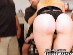 Blonde MILF Slut Bukkake Blow Bang!