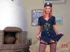 Girl next door Nikky in police uniform