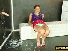 Sexy frun ansikts- Sperma sprut