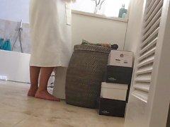 holiday MILF caught on bathroom hidden cam