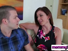 Brunette big tits milf blowjob sucking step mom