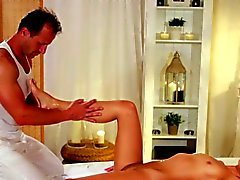 Beautiful babe sucks masseurs dick