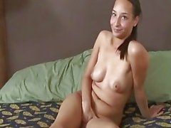 Amateur sex movie with a skinny brunette young babe