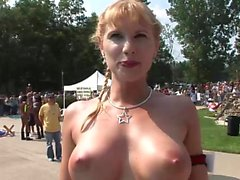 Group of girls gets naked outdoors