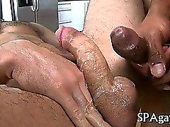 Jerking off a lusty pecker