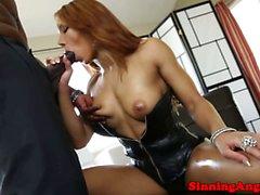 Nubian babe enjoying throatfuck session