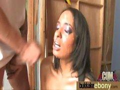 Ebony gets group cumshots 2