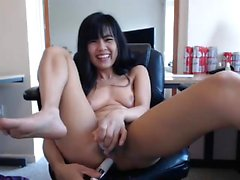 Wet pussy busty asian fingering with hard nipples