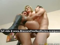 Independent blonde slut in bed with two guys
