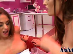 Two hot brunettes share a big cock