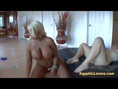 busty stepmom enjoys lesbian threesome