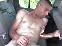 Euro non-professional jerking wang on backseat