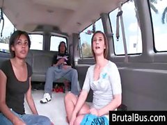 Two gals start out on the brutal bus, then when one leaves the other has the cock all to herself