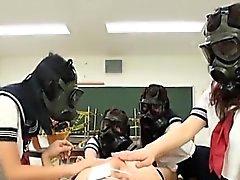 CFNM Gas Mask Japanese schoolgirls inspection Subtitled