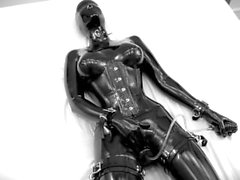 Rubber doll masturbates, then is bound and vibrated until it cums