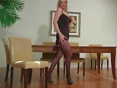 Blonde Talking Dirty In Her Pantyhose